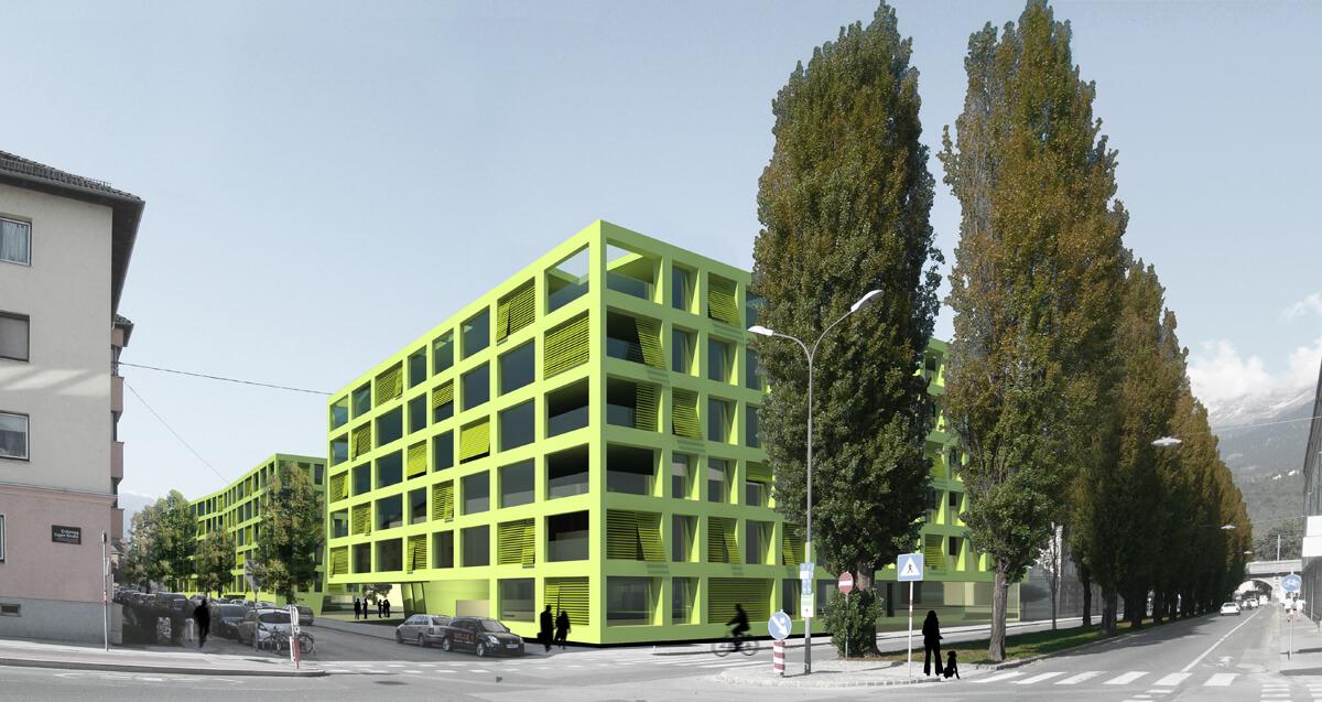 Wohnbebauung sillblock innsbruck dina4 architektur for Architektur innsbruck